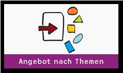 Pfeil nach rechts zeigt auf verschiedene Symbole wie ein Kreis, Dreieck, Oval. Unterschrift: Angebot nachThemen