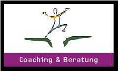 Coaching und Beratung Logo Männchen springt über einen Spalt