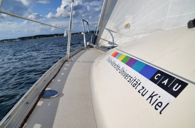 Segelboot mit CAU Logo